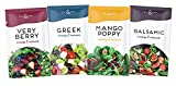 Hall & Perry Low Calorie, Low Fat, Keto Friendly Salad Dressing - 12 Ready to Serve Pouches, 1 oz each - Variety Pack of Greek, Very Berry, Balsamic and Mango Poppy