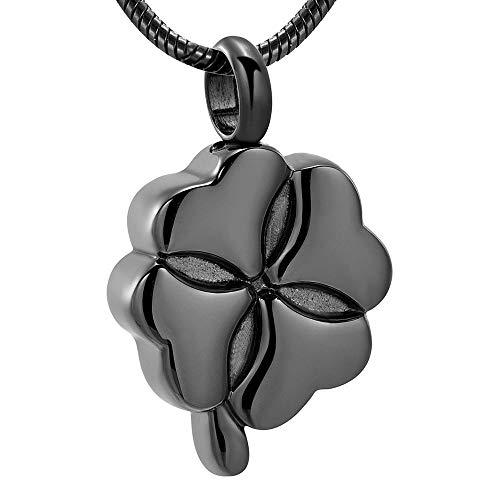 TYBM Ur Colgante Collar Joyería De Cremación Colgante Palo Ash Memorial Acero Inoxidable Hermosa Forma De Flor Recuerdo Mujeres Urna Collar-Negro