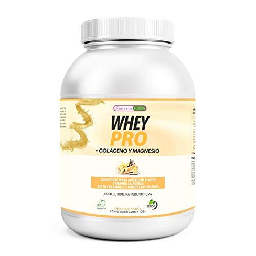 100% Whey Protein con Colágeno y Magnesio | 43Gr. de Proteína Pura por toma 0% Azúcares | Aumenta el crecimiento muscular y tonifica los músculos | Protege y lubrica Articulaciones | 1000g (Vainilla)
