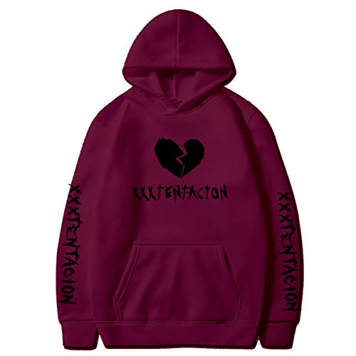 Sudaderas con Capucha de Rapero Love Fashion Sport Hip Hop Sudadera Pocket Pullover Tops Wine Red