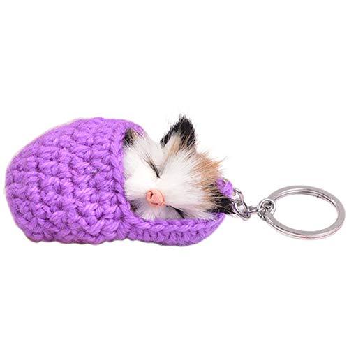 bobvc Sleutelhanger slapen katje bont bal mobiele telefoon auto sleutelhanger handtas charme sleutelhanger
