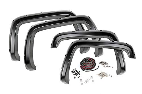 Rough Country Pocket Fender Flares fits 07-13 Chevy Silverado 1500 | 6.5/8 Bed | Bolt on Style | Flat Black | F-C10714