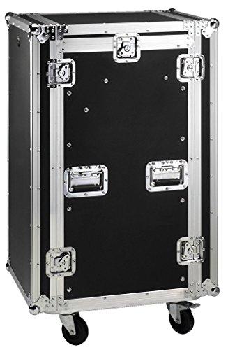 MONACOR MR-182 Rollbares Flightcase, Mehrlagen-Multiplex-Holz, schwarz laminiert