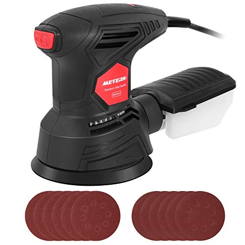 Meterk 5 Inch Random Orbit Sander 2.5A Orbital Sander with 12Pcs Sandpapers, 12000RPM, 6 Variable Speed, Efficient Dust Collector, Ideal for Finishing, Sanding, Polishing Wood