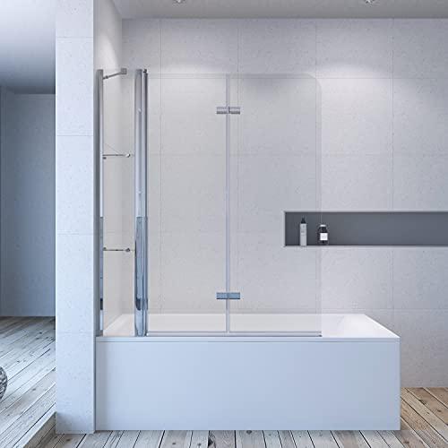 AQUABATOS® 150 x 140 cm Duschabtrennung Duschtrennwand für Badewanne Badewannenaufsatz 3 Teilig faltbar mit Eckregalen Wandablagen aus 5 mm Einscheiben Sicherheitsglas ESG Nano Beschichtung Glas