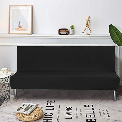 Dightyoho Funda de Sofá Cama sin Brazos, Cubierta para Sofá de 3 Plazas sin Reposabrazos Elástico Plegable Moderno de Color Sólido (190-210cm, Negro)