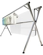 室内物干し 洗濯物干し 布団干し 無組立 ステンレス 伸縮タイプ 折りたためる 多機能ダブルバータイプ 幅140~240㎝ 着地x型