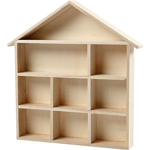 Estanteria en forma de casa, medidas 26x25,2 cm, A. 3,5 cm, árbol del té, 1ud