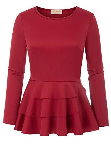 Vintage Damen Arbeitskleidung Tops Büro Elegante Rundhalsausschnitt Shirts Rot 942 Large