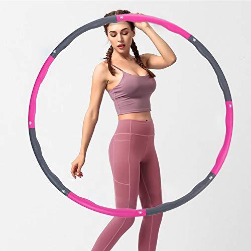 ButerDem Fitness Hula Hoop zur Gewichtsreduktion, Houlahoop Reifen Fitness, Reifen mit Schaumstoff Gewichten Einstellbar 1 kg, Breit 19-37 in beschwerter(Rosa + Grau,8 Knoten)