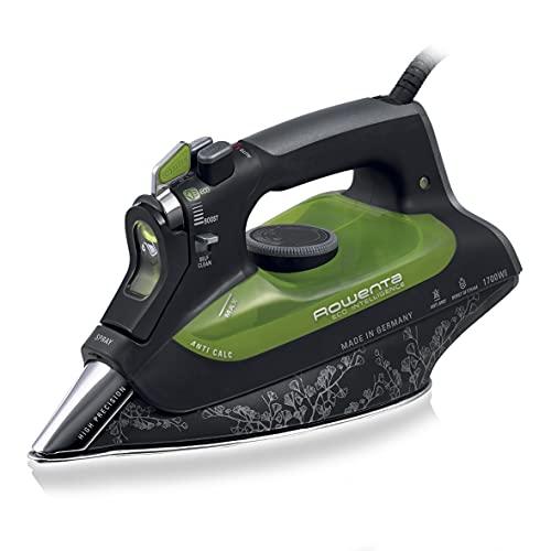 Rowenta Eco Intelligence DW6010D1 Plancha de Ropa, 30% Ahorro energía, Suela microsteam 3D Laser con Punta de precisión, Vapor Continuo 40 g/min, 2400 W, 0.3, Negro, Verde