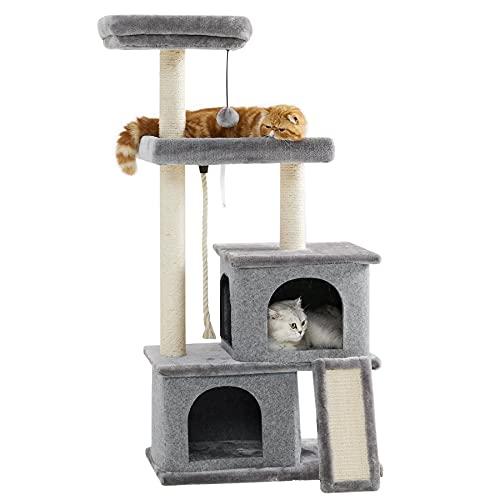 Le Sure Rascador Árbol Gatos para Escalar - Torre Gato con Plataformas y Refugios, Cat Tree Interior Altura 127 cm,Cuerda de sisal, Gris