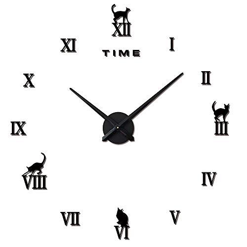 3D DIY Wall Uhr, Roman Numeral Mute Clock, Frameless Mirror Wall Sticker, Home Decor Living Room Schlafzimmer, Silver,Black