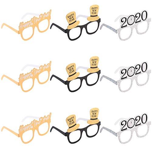 Amosfun felice anno nuovo occhiali fantasia capodanno celebrazione celebrazione favore per le feste del 2020 capodanno decorazioni confezione da 18