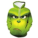 Sudadera con Capucha Unisex The Grinch Stole Christmas Pullover con Estampado 3D Moda Casual Unisex Novedad Green Hair Monster,B,5XL