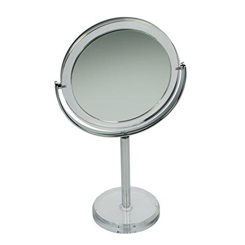 Fantasia Miroir de Maquillage Rond Double Face grossissant Normal et 10 x Ø 16 cm Hauteur 30,5 cm Acrylique Miroir cosmétique
