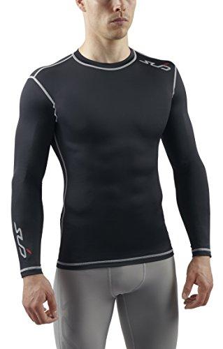 Sub Sports Herren Dual Kompressionsshirt Funktionswäsche Base Layer langarm, Schwarz, S