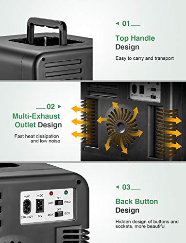 Mini Kühlschrank 15 Liter Tragbare Kühlschränke mit Kühl- und Heizfunktion, 220 V AC/ 12 V DC für Auto und Haushalt, Thermoelektrischer Mini-Kühlschränke für Hautpflege und Kosmetik (ECO-Modus) 4