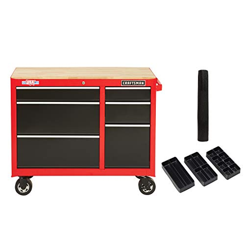 CRAFTSMAN Workbench with Drawer Liner Roll/Tray Set, 41-Inch, 6 Drawer, Red (CMST82777RB)