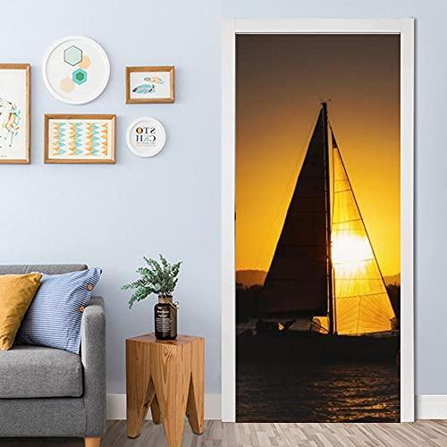 YQLKD Door Stickers Vista De La Puesta De Sol del Barco De Vela En El Mar Papel Pintado Autoadhesivo De La Puerta Mural del Cartel del Hogar del PVC