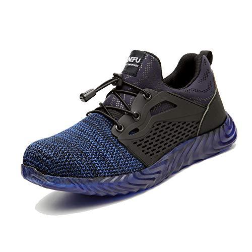 Zapatos de Seguridad Hombre Calzado de Industrial Mujer Puntera de Acero Zapatillas Deportivas de Trabajo Construcción Botas Tácticas Azul-3 EU43