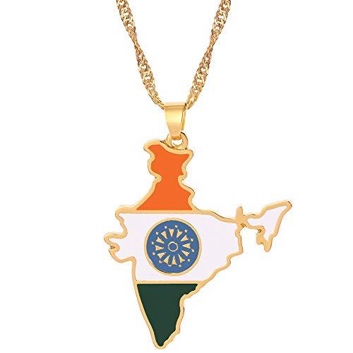 QAQV Mapa Bandera Collar Colgante Collar Mujeresglamour Jewelry Gift-Gift