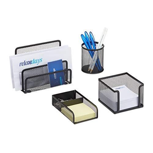 Relaxdays Schreibtisch Organizer Set 4-teilig, Mesh Metall Zubehör mit Briefablage, Stiftehalter und Zettelbox, schwarz