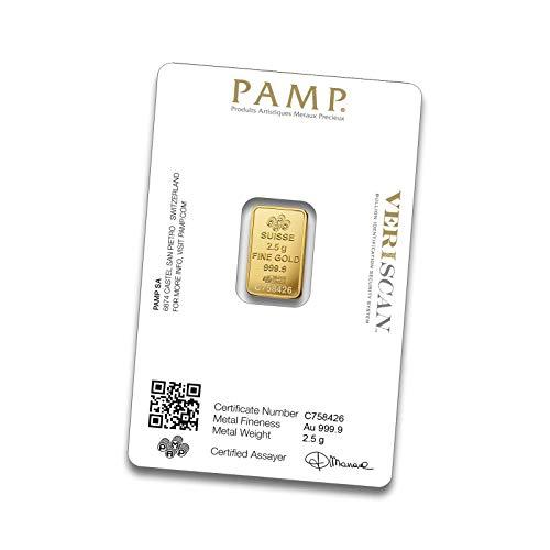 PAMP Goldbarren 999.9 - Einzeln im Blister mit Seriennummer und QR Code verschweißt (2,5g