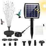 Jsvacva - Fontana ad energia solare, con pannello solare da 2,5 W, pompa solare per fontana con 7 ugelli, pompa solare galleggiante per vasche per uccelli, laghetti, decorazione da giardino