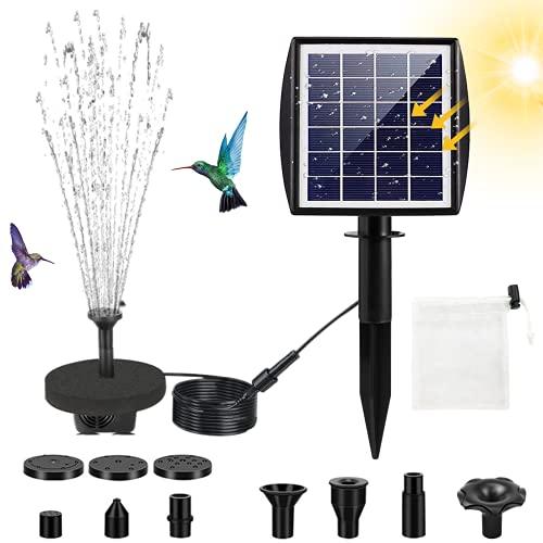 Fuente Solar, Jsvacva 2.5w Solar Panel Water Fountain, Bomba Solar para Fuente de Agua con 7 boquillas, Bomba Solar Flotante para baño de pájaros, pecera, Estanque, decoración de jardín