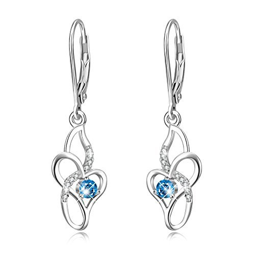 Women Jewelry Sterling Silver Blue Cubic Zirconia Infinity Love Leverback Dangle Earrings for Women Girls, Christmas Gifts for Her