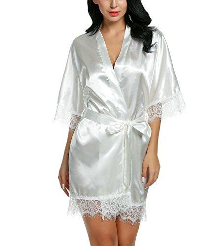Damen Sexy Satin Japanischer Kimono kostüm Kurz Robe Chemise Dessous Set Nachtkleid Chemise Nachthemd Negligee Nachtwäsche Reizwäsche Babydoll Lingerie, A Weiß, Gr. XXL