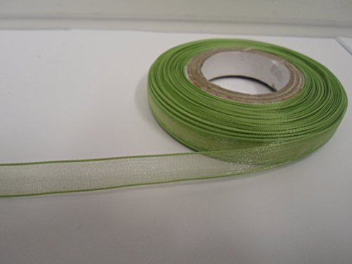 Beautiful Ribbon 1 Rouleau de Ruban en Organza 9mm Pure x 25 mètres de la Sauge Vert Clair Double fac faveurs 9 mm