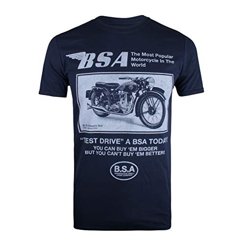 BSA Motocycles Test Drive T-Shirt, Blu (Navy Navy), XX-Large Uomo