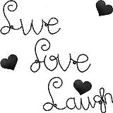 Blulu Escultura de Palabra de Pared de Metal de Set de Live Love Laugh con 3 Piezas Decoraciones de Pared de Corazón de Metal Decoración de Casa en Forma de Love Live Laugh Corazón