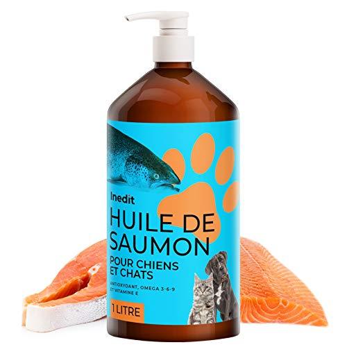 Inedit - Aceite de salmón para perro y gato – 1 litro 100 % natural – Aceite de pescado sanitario