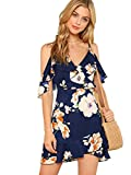 MakeMeChic Women's Cold Shoulder V Neck Floral Wrap Beach Ruffle Mini Boho Dress Navy XS