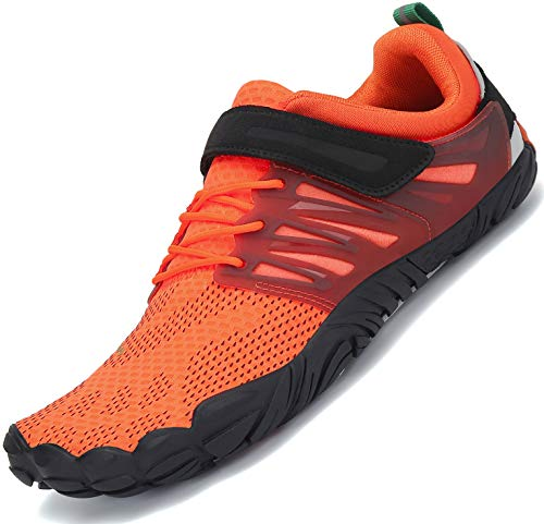 SAGUARO Barfußschuhe Herren Zehenschuhe Outdoor Traillaufschuhe Männer Straßenlaufschue Five Finger Schuhe St.2 Orange 44 - 2