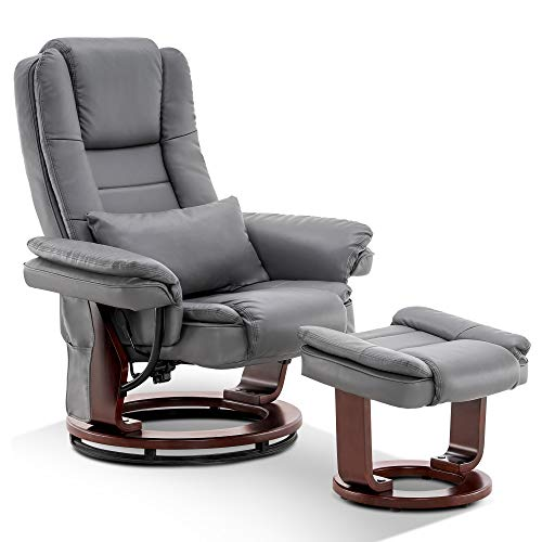 Mcombo Recliner with Ottoman   Accent Recliner Chair with Vibration Massage, Lumbar Pillow, 360 Degree Swivel