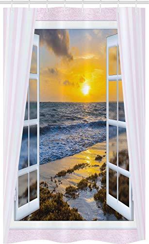 ABAKUHAUS Kust Douchegordijn, Open Window Sunrise Sea, voor Douchecabine Stoffen Badkamer Decoratie Set met Ophangringen, 120 x 180 cm, Veelkleurig