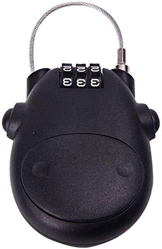 IMBM Vorhängeschloss Türschloss Teleskop Seil Anti-Diebstahl-Reisetasche Kombination Gepäck Vorhängeschloss Fahrrad-Durable-Kennwort-Verschluss (Color : Black)