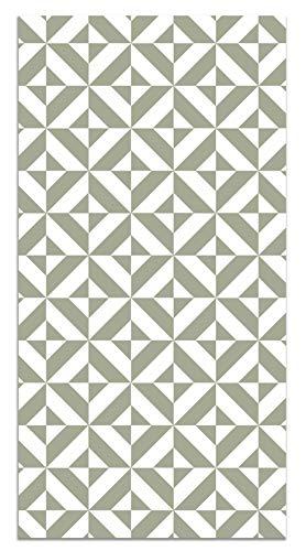 Panorama Tappeto Vinile Geometria Verde 60x200 cm - Tappeto da Cucina Piastrelle Antiscivolo - Tappeto Moderno Salotto - Tappeto Lavabile Ignifugo - Tappeto Grande - Tappeto PVC