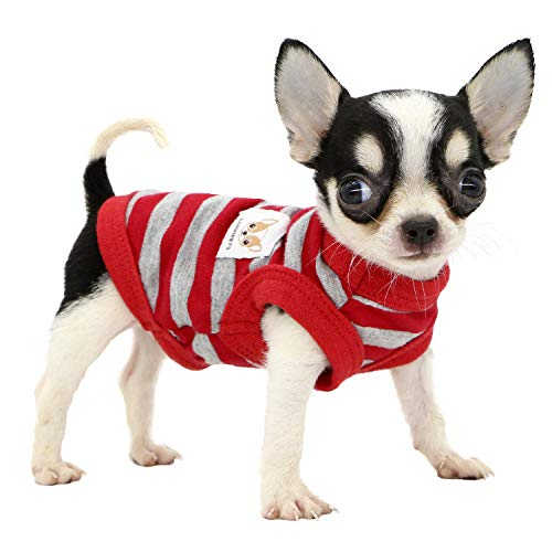 Lophipets 100% Cotton Striped Dog Shirts for Small Dogs Chihuahua Puppy Clothes Tank Vest-Red and...