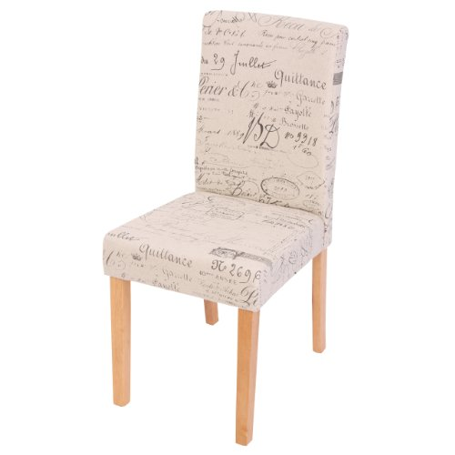 Mendler Esszimmerstuhl Littau, Küchenstuhl Stuhl, Stoff/Textil - Schriftzug Creme, helle Beine