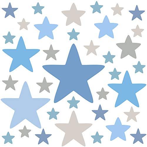 PREMYO Set 36 Adesivi Murali Bambini Stelle - Wall Stickers Muro Cameretta - Decorazione Parete Camera da Letto Blu