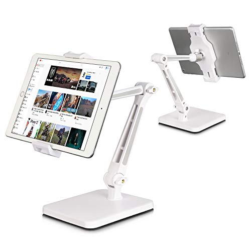 DoubleSun iPad Stand Holder, Tablet Stand Adjustable - 360° Swivel Folding iPad Stands and Holders for Desk Fits Phone iPad Air Mini Pro, Kindle, Fire, Surface, (4.7''-12.9'') (Extended)