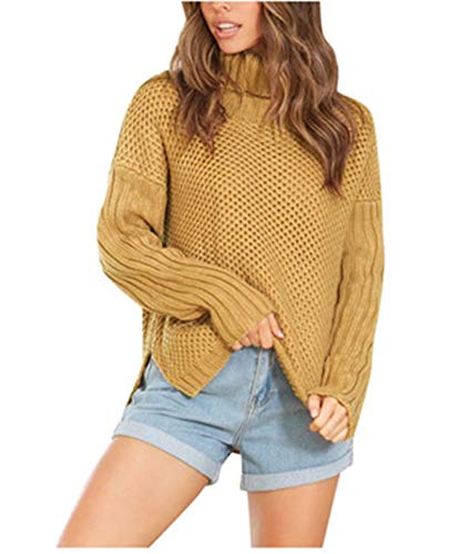 SLYZ Blusa De Punto Suelta De Cuello Alto Grueso De Color Caqui Nuevo Otoño E Invierno para Mujer