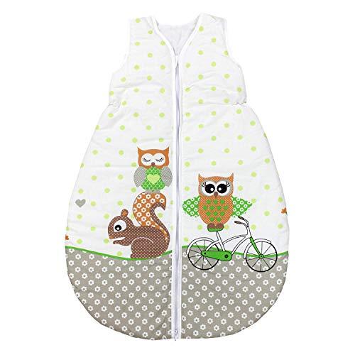 TupTam Unisex Baby Schlafsack ohne Ärmel Wattiert, Farbe: Eulen 2 Grün, Größe: 62-74
