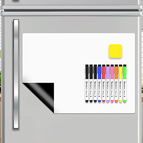 """Magnetic Dry Erase Board for Fridge, 17"""" x 11"""" Magnetic Whiteboard Sheet with 10 Markers 1 Magnet Eraser, Small Dry Erase White Board for Kitchen Home Kids, Stain Resistant Refrigerator Dry Erase Whiteboard Planner Organizer"""