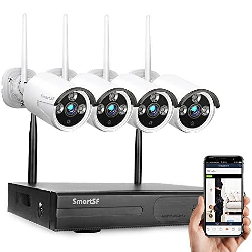 Kit Videosorveglianza wifi Kit Wireless Sistemi di Sorveglianza, 1080P 8CH NVR , 1MP Resistente alle intemperie Telecamere Bullet IP per esterni, Visione notturna, avviso e-mail, accesso Remoto,NO HDD
